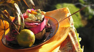 Offerings at Villa Sabandari, a Bali boutique resort in the vicinity of Ubud.