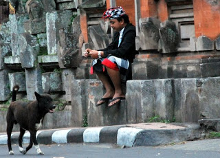 Member of the Pecalang at a temple near Villa Sabandari, a holiday hotel in Ubud Bali