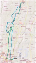 Cycling map from Villa Sabandari to Tegalalang and back