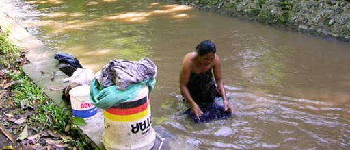 Laundry in the river near Ubud, Bali