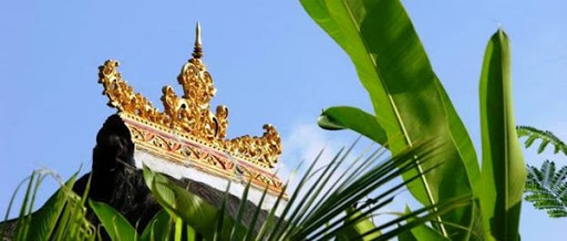 Decorated roof during walk from Villa Sabandari, one of the newest villas in Ubud to Petulu, Bali