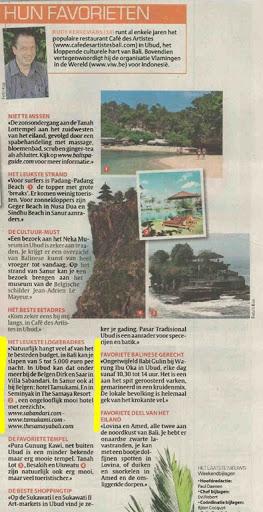 Artikel in Het Laatste Nieuws vermeldt ook Villa Sabandari, een rustig boutique charme hotel | zen Bali Ubud | Yoga vacation