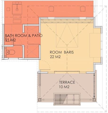 Grondplan van Baris kamer in Villa Sabandari, een klein boetiek hotel in Ubud