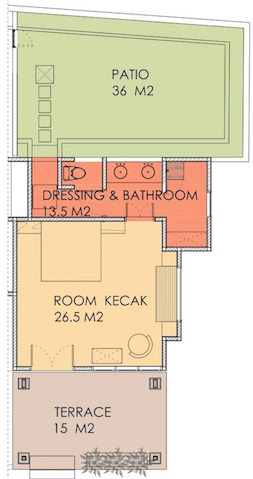 Layout of Kecak room at Villa Sabandari, a small boutique hotel