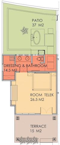 Layout van Telek kamer in Villa Sabandari, een gezellige B&B in Bali